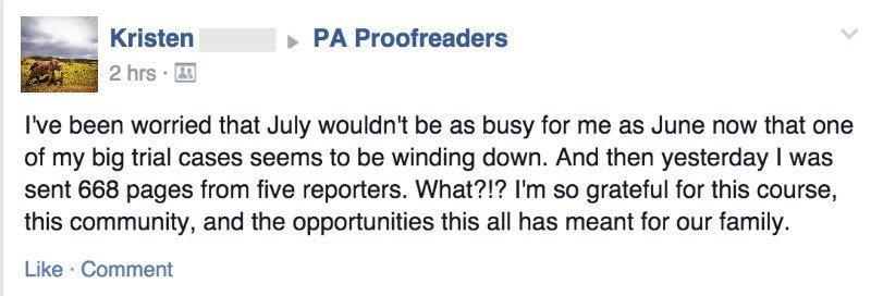 Kristen testimonial proofreading work