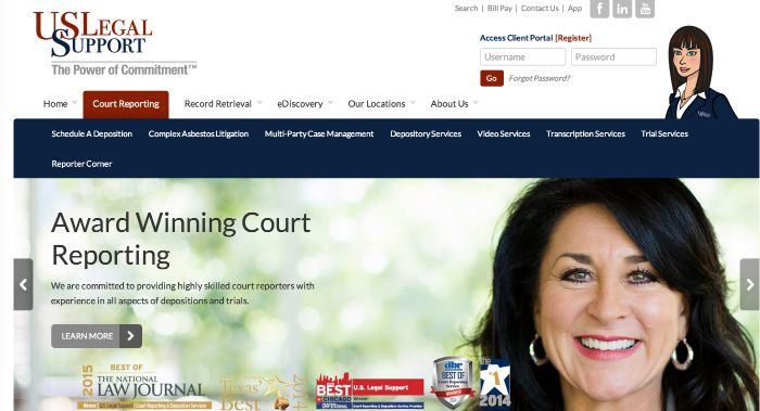 Sandi Estevez, featured on the US Legal Support homepage