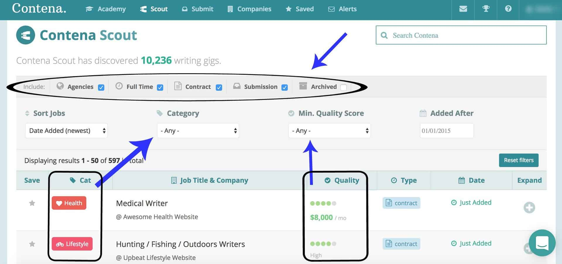 Contena review - freelance writing job board